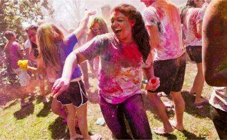 students playing Holi at Duke