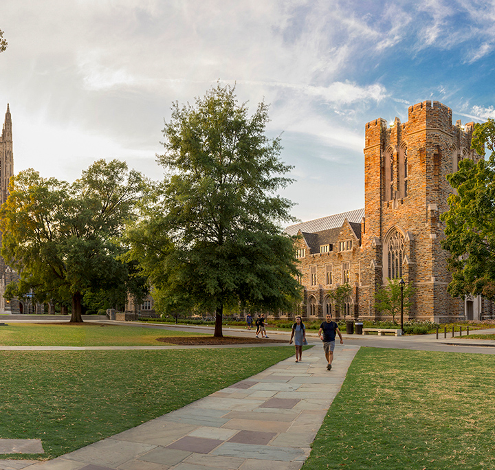 duke field and chapel at sunset
