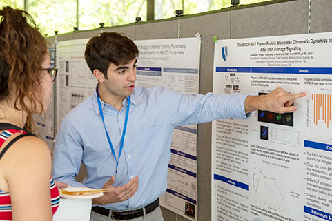 student presents research