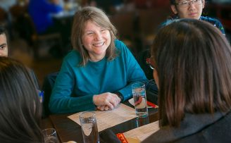 Provost Sally Kornbluth dines with students